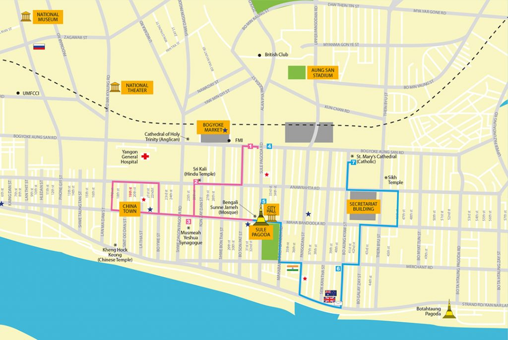 Street map of Yangon