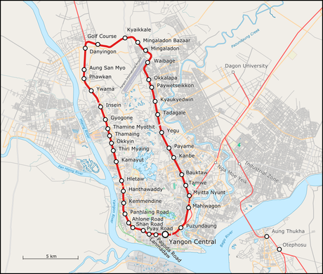 Yangon Circle Line - map